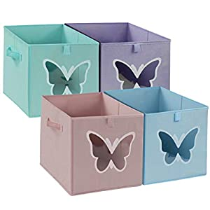 homyfort 12×12 Cube Storage Bins Organizer for Kids, Foldable Basket Collapsible Container Drawers with Clear Window for Closet, Bedroom, Toys,Set of 4 Colored Butterfly
