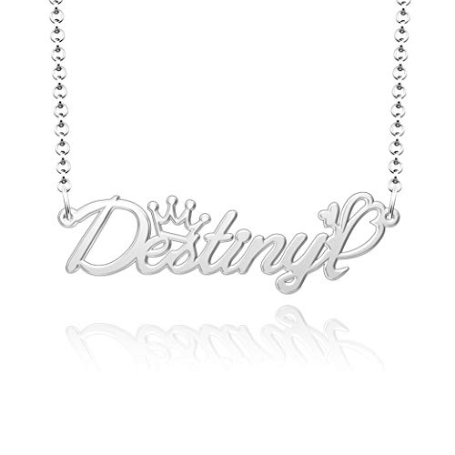 SexyMandala Sterling Silver Name Necklace Personalized Custom Made Any Name Pendant Jewelry for Destiny