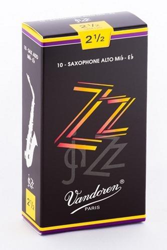 Vandoren SR4125 Alto Sax ZZ Reeds Strength 2.5; Box of 10