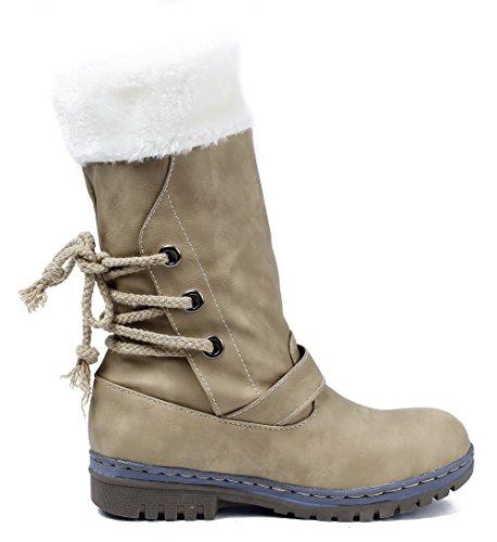 nbsp;Nieve Plano Hebilla con Mujer Shoes AgeeMi Caña Amarillo Baja nbsp;de Bota Suede SfUx8q