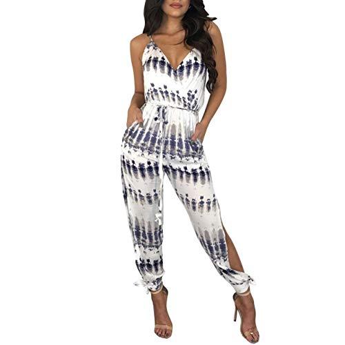 Print Long Strap Jumpsuit V Spaghetti Women Neck 4qAxF