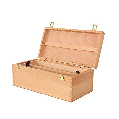 Artist Wooden Storage 2tray Pastel Box,Portable Beechwood Storage Chest, Beech Painting Toolbox, Paint Box (Beechwood Toy Chest)