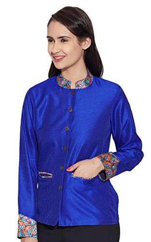 Ethnic Blouse India Her Blue Top Women Clothing Gift Royal Short For Jakcet Silk Faux WOSqAITW
