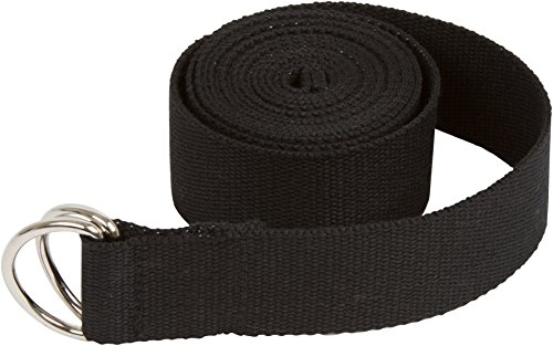 Trademark Innovations Durable Cotton Yoga Strap with Metal D Ring, 8', Black