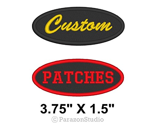 Custom Embroidered Name Tag Oval Patch Motorcycle Biker Badge 3.75