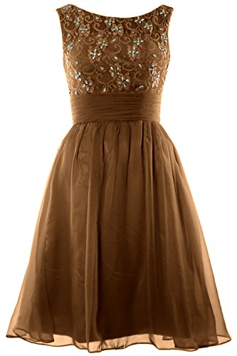 MACloth Women Boat Neck Lace Beading Short Wedding Bridesmaid Homecoming Dress Marrón