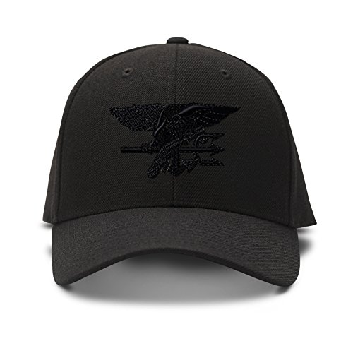 Navy Seal Black Logo Embroidered Unisex Adult Hook & Loop Acrylic Adjustable Structured Baseball Hat Cap - Black, One Size