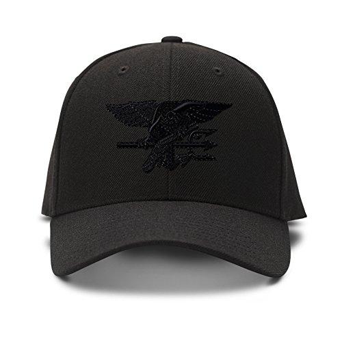 Navy Seal Black Logo Embroidery Adjustable Structured Baseball Hat (Structured Adjustable Baseball Hat)