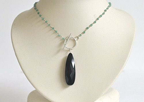 Black Onyx and Green Onyx Necklace - Sterling Silver Lariat ()