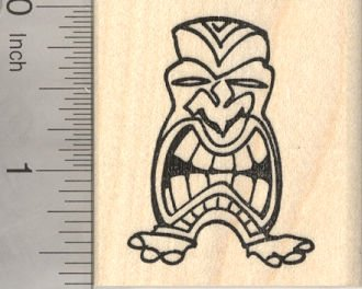 (Hawaiian and Polynesian Tiki Mask Rubber Stamp)