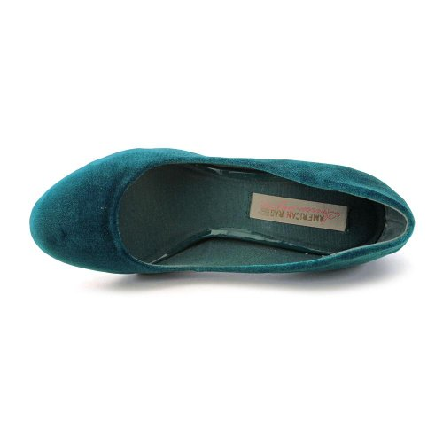 Amerikaanse Rag Fanci Womens Maat 7.5 Blauw Textiel Pumps Hakken Schoenen