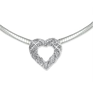 """Sterling Silver 0.50ctw Diamond Heart Pendant with Free 17"""" Omega Necklace"""