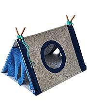 KOUJING hamsterhus, hamster gömställe triangulärt tält för små djur bur tillbehör för marsvin iller chinchilla 2 färger 2 storlekar