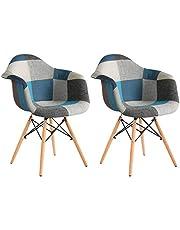2 x krzesło do jadalni, patchwork, klasyczne wzornictwo, styl retro, krzesło barowe, do salonu, kuchni, jadalni, siedzisko, drewno, len (blue2, 2 sztuki)