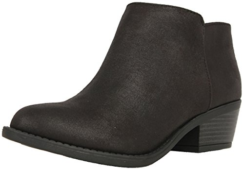 Soda Women's Massen Distress Faux Suede Leather Round Toe Heel Ankle Boot, Black, 8.5 M (Black Distress Leather)