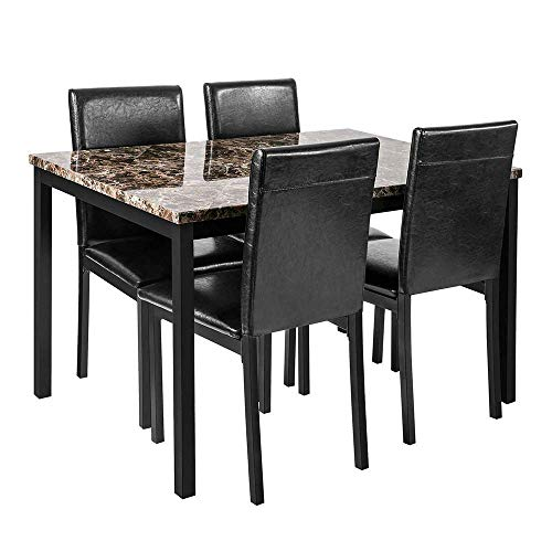DKLGG 5-Piece Kitchen Table Set, PU Leather Dining Set Faux Marble Top Counter Height Dining Table Set with 4 Black Leather-Upholstered Chairs for Kitchen, Breakfast Nook, Bar, Living Room