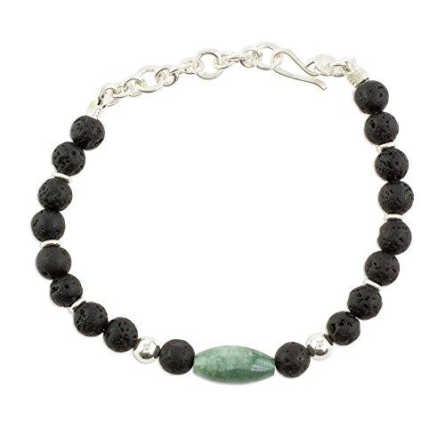 (NOVICA Jade .925 Sterling Silver Beaded Bracelet, 6.5