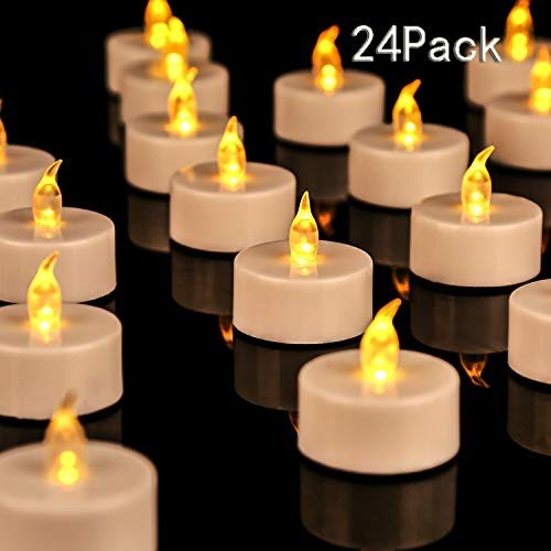 JUNPEI 24-Pack Flameless Tea Lights LED Tea Lights Holiday Gift Warm Yellow Lamp Battery Powered ...]()