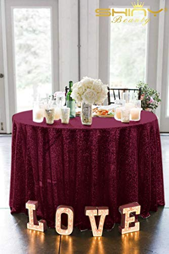 ShiDianYi Tablecloths 120'' Round Burgundy Table Cloth Wine Red Sequin -