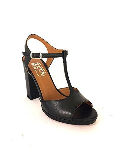Mujer de de para Zeta negro Shoes Piel Sandalias Vestir gwWq0pE