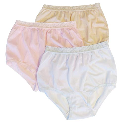 Women's Pastel Nylon Lace Trim Panties Size 5 (3-Pack)