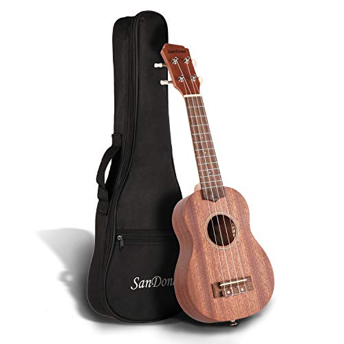 SANDONA Soprano Ukulele Set 21'' Sapele UK-1 | For Musicians Of All Levels | Complete Ukulele Set Includes Strap, Extra Strings, Digital Tuner & Gig Case | Burlywood Color