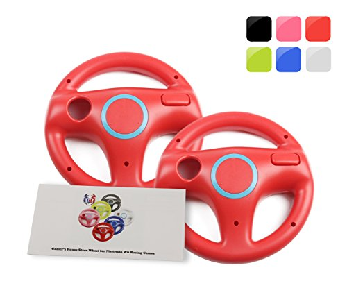 GH 2Pcs Wii(U) \ Wii Wheel for Mario Kart 8 and Other Nintendo Remote Steering Games , Wii Steering Wheel - Mario Red (6 Colors Available)