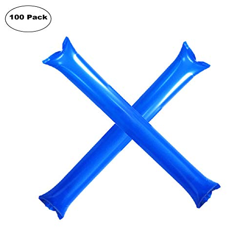 Furry Sunny Bam Bam Thunder Sticks Inflatable Stadium Noisemakers Cheer Sticks Blow Bar Inflatable Boom Sticks Noisemakers Stick Basketball Football Noisemakers Party Favors 100 Pack (Blue)