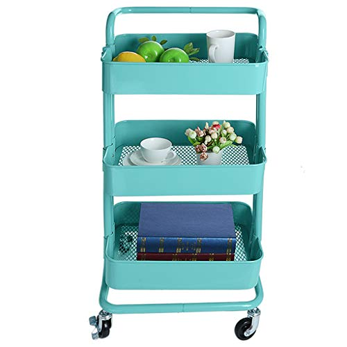 Price comparison product image Clearance ! Cosmetics and Potting Storage Cart, Vegetable Fruit Storage Rack,  3-Tier Wheeled Plastic Basket Shelving Trolley