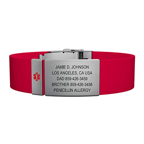 Road ID Medical Alert Bracelet - the Wrist ID Elite Plus 19mm and Medical Alert Badge - Stainless Classic - Personalized Medical ID Bracelet (Red)