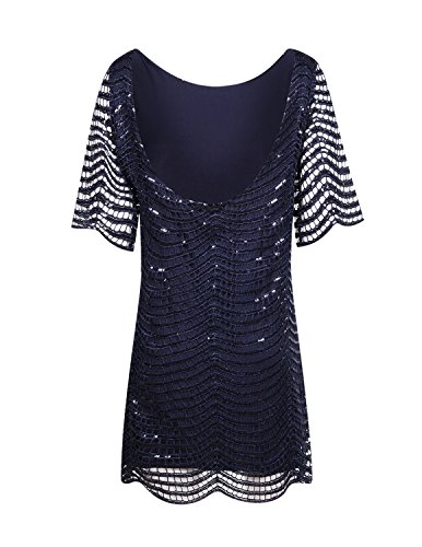 Out HaoDuoYi Sleeves Lace Half Mini Sequin 1920's Womens Blue Dress Party Sparkle Hollow Navy XrtYqxY0w