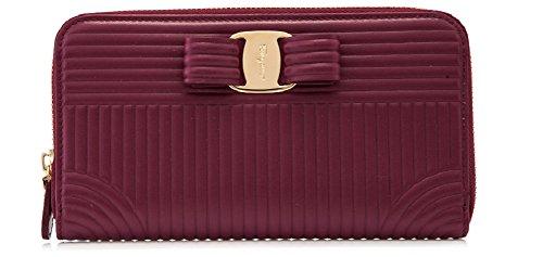 Salvatore Ferragamo Quilted Vara Long Zip Around Wallet (One Size, Vin) by Salvatore Ferragamo