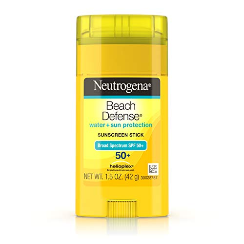 (Neutrogena Beach Defense Sunscreen Stick with Broad Spectrum SPF 50+, Lightweight Water-Resistant Sunscreen with Oil-Free & PABA-Free Formula, 1.5 oz)