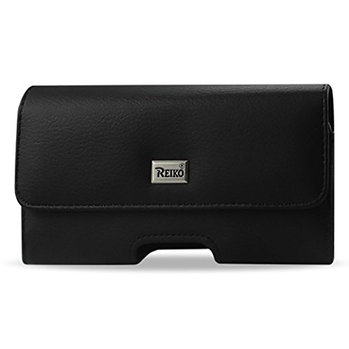 Reiko Large Size for Samsung Galaxy S6 / S8 / S9 (Fits With Silicone Case / Hybrid Case) Black Leather Wallet Pouch and Zoomazig Stylus by Zoomazig