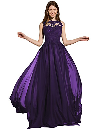 Lanshini Women's Lace Appliqued Beaded Crew Neck Prom Evening Dresses Formal Chiffon Party Gowns LSN149 Purple 08