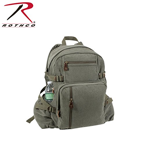 Rothco Vintage Canvas Backpack/No Star, OLIVE DRAB Size