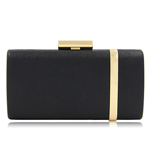 Women Bridal Metallic Evening Clutches Handbag Sparking Solid Clutch Purses (Black)