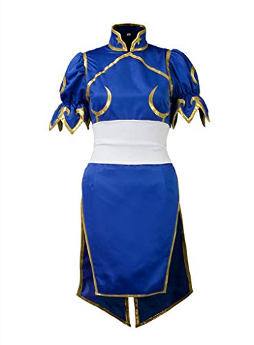 Cosfun Top Street Fighter Chun Li Cosplay Costume Mp000407 (Women XS) Blue ()