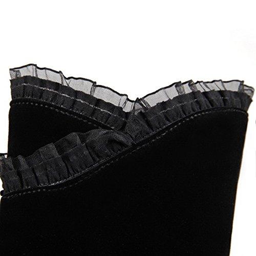 Allhqfashion Dames Spikes-stilettos Rond Gesloten Teen Gematteerde Mid-top Stevige Aantreklaarzen, Zwart-kant, 34