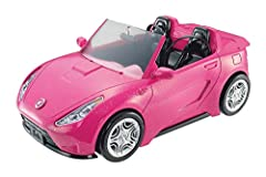 Barbie's going on a roadtrip and you're invited!Barbie's pink convertible can take you anywhere with realistic rolling wheels. With room for two, Barbie can invite a friend on her drive for extra fun! Pink convertible features a sparkly finis...
