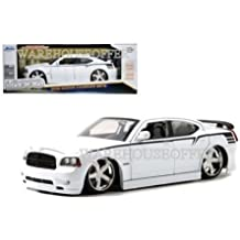 NEW 1:18 JADA TOYS LOPRO COLLECTION - WHITE 2006 DODGE CHARGER SRT-8 Daytona Diecast Model Car By Jada Toys