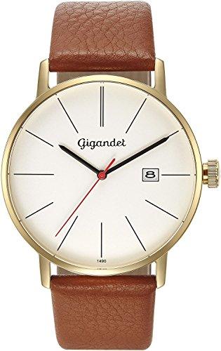 Gigandet Men's Quartz Watch Minimalism Analog Leather Strap Gold Brown G42-008