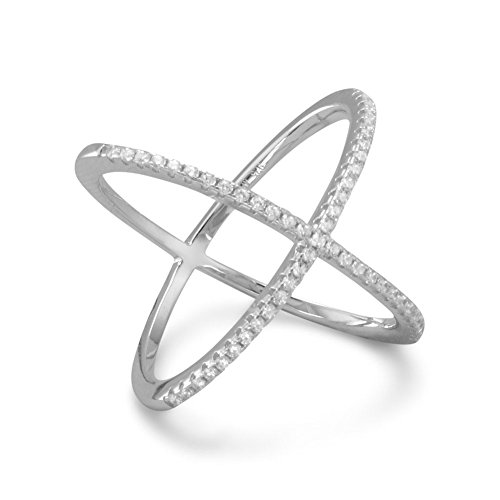 Precious Stars Sterling Silver Signity Cubic Zirconia 'X' Criss-Cross Ring
