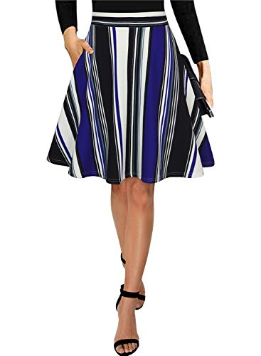Black Maxi Skirts for Women Vintage Summer High Waisted A-line Long Flowy Skirt (Knee-Blue Striped, S)