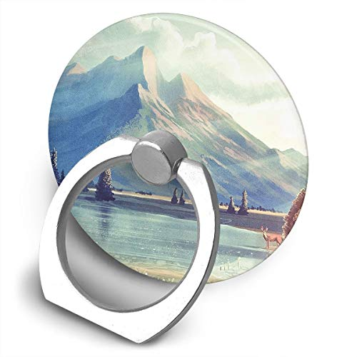 (Cell Phone Finger Ring Holder Art Nature Mountain 360 Degree Rotating Stand Grip Mount Phone Bracket)