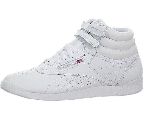 Reebok Women's Freestyle Hi Walking Shoe, White/Silver, 8 M US (Sneaker Freestyle Hi)