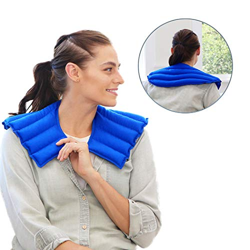 My Heating Pad Microwavable for Neck and Shoulders Pain Relief | Weighted Neck Wrap Hot Compress Pack | Neck Wrap Microwavable | Target Muscle, Joint, Stress and Tension Relief (Blue) (Shoulder Heating Pad Microwavable)