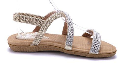 Schuhtempel24 Damen Schuhe Sandalen Sandaletten Flach Ziersteine Gold