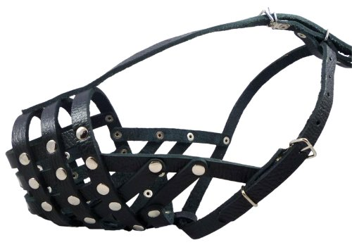 Secure Leather Mesh Dog Basket Dog Muzzle #11 Black - Pit Bull, Amstaff (Circumference 12', Snout Length 3.5')