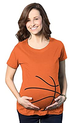 Maternity Basketball Bump Announcement Funny Pregnancy Gift Tee for Ladies (Orange)